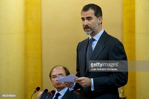 King Felipe VI of Spain attends a commemoration of the holocaust event at Senado Palace on January 27 2015 in Madrid Spain