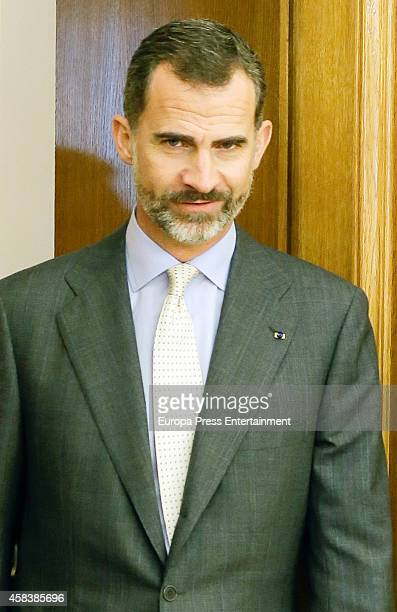King Felipe VI of Spain attends a lunch meeting at Zarzuela Palace on November 3 2014 in Madrid Spain