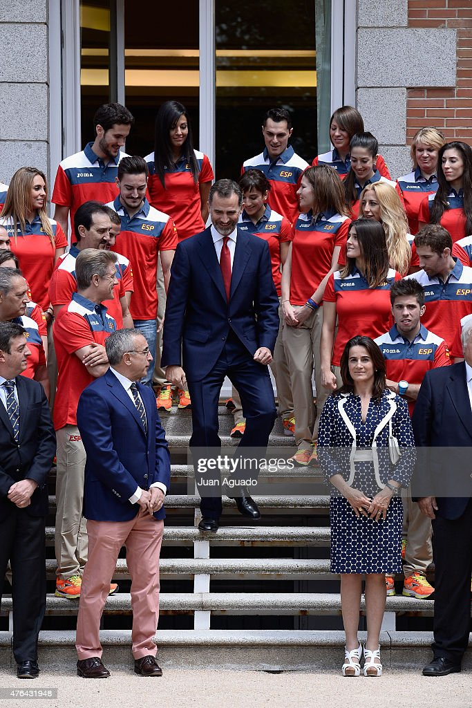 King <a gi-track='captionPersonalityLinkClicked' href=/galleries/search?phrase=Felipe+VI+of+Spain&family=editorial&specificpeople=4881076 ng-click='$event.stopPropagation()'>Felipe VI of Spain</a> attends a meeting with athletes and members of The Spanish Olympic Committee at Zarzuela Palace on June 9, 2015 in Madrid, Spain.