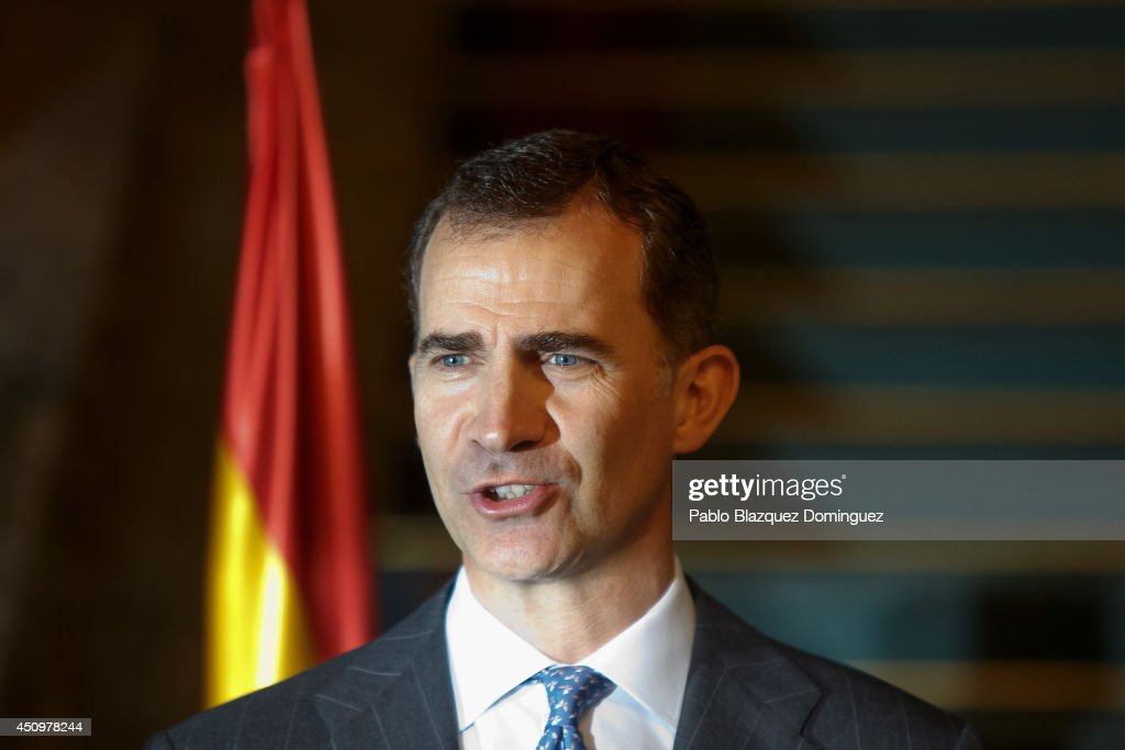 King <a gi-track='captionPersonalityLinkClicked' href=/galleries/search?phrase=Felipe+VI+of+Spain&family=editorial&specificpeople=4881076 ng-click='$event.stopPropagation()'>Felipe VI of Spain</a> attends a meeting with the victims of terrorism on his first official event since the King's official coronation ceremony on June 21, 2014 in Madrid, Spain.