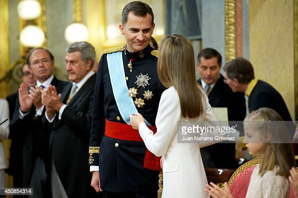 King Felipe VI of Spain attends along side Queen Letizia of Spain during his inauguration at the Parliament on June 19 2014 in Madrid Spain The...
