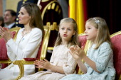 King Felipe VI of Spain attends along side Queen Letizia of Spain Princess Leonor Princess of Asturias and Princess Sofia of Spain during his...