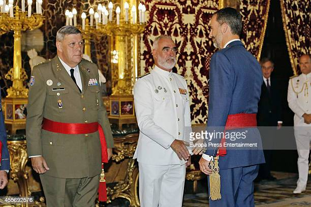 King Felipe VI of Spain attends an audience to Spanish Army on September 18 2014 in Madrid Spain