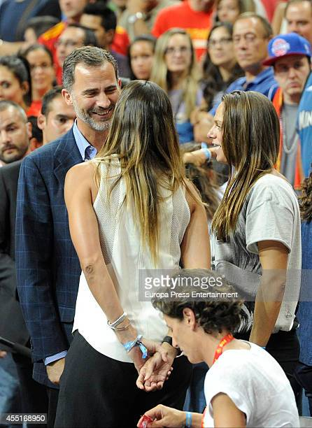 King Felipe VI of Spain attends basketball match between Spain and Argentina at Palacio Municipal de Deportes on August 25 2014 in Madrid Spain