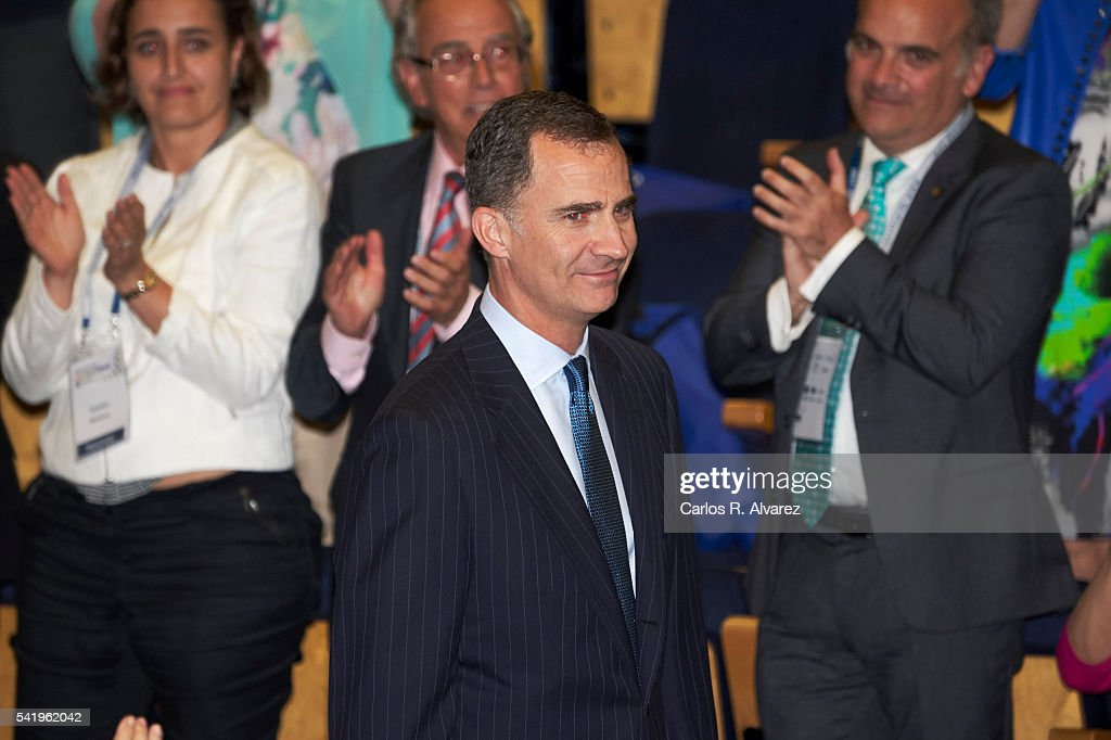 King Felipe VI of Spain attends CEDE congress at Ifema auditorium on June 21 2016 in Madrid Spain