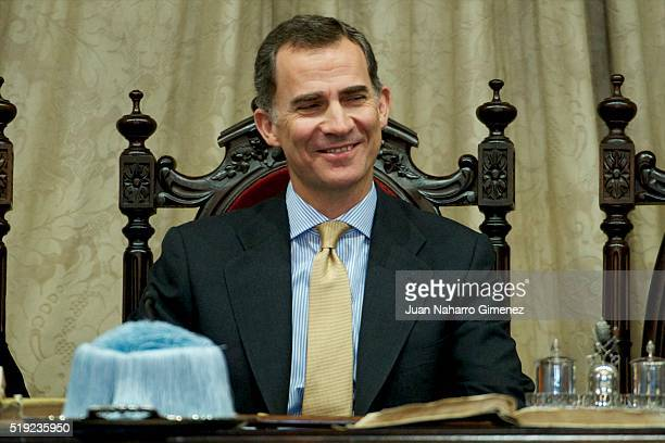 King Felipe VI of Spain attends investiture of honorary doctors by Salamanca's University at Paraninfo of Salamanca's University on April 5 2016 in...