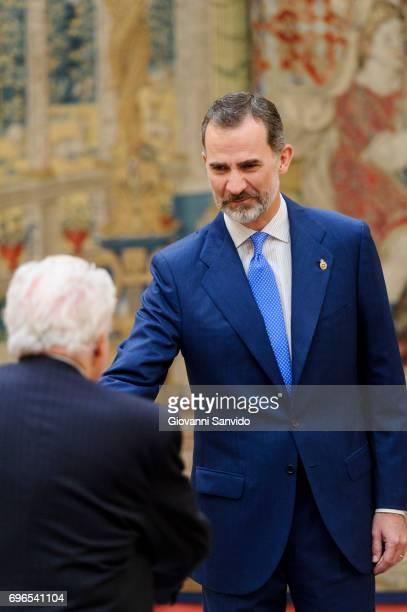 King Felipe VI of Spain attends meet the members of 'Princesa de Asturias Foundation' at El Pardo Royal Palace on June 16 2017 in Madrid Spain