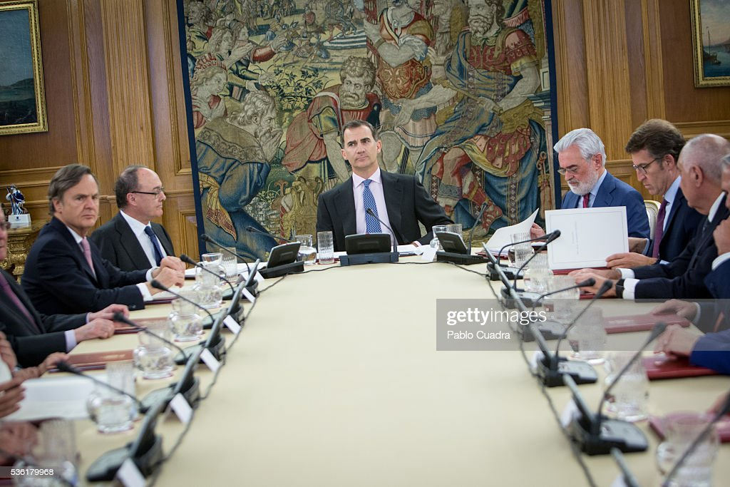 King <a gi-track='captionPersonalityLinkClicked' href=/galleries/search?phrase=Felipe+VI+of+Spain&family=editorial&specificpeople=4881076 ng-click='$event.stopPropagation()'>Felipe VI of Spain</a> attends meeting of the Board Spanish Royal Academy at Zarzuela Palace on May 31, 2016 in Madrid, Spain.