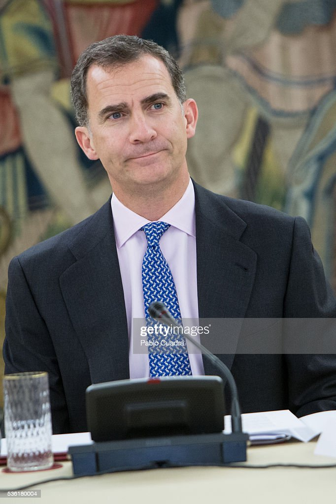 King Felipe VI of Spain attends meeting of the Board Spanish Royal Academy at Zarzuela Palace on May 31, 2016 in Madrid, Spain.