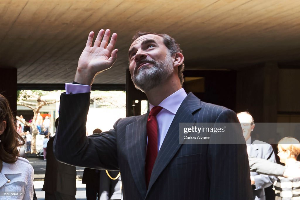 King Felipe VI of Spain attends several audiences at the Presidency of the Government of the Canary Islands on April 25, 2017 in Tenerife, Spain.