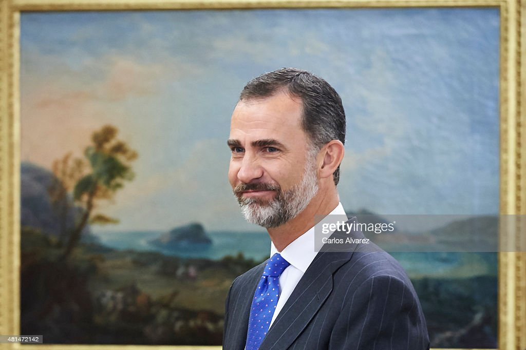 King Felipe VI of Spain attends several audiences at the Zarzuela Palace on July 21, 2015 in Madrid, Spain.