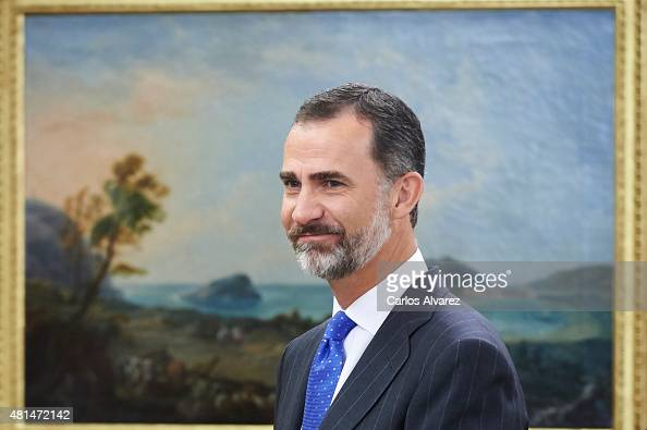 King Felipe VI of Spain attends several audiences at the Zarzuela Palace on July 21 2015 in Madrid Spain