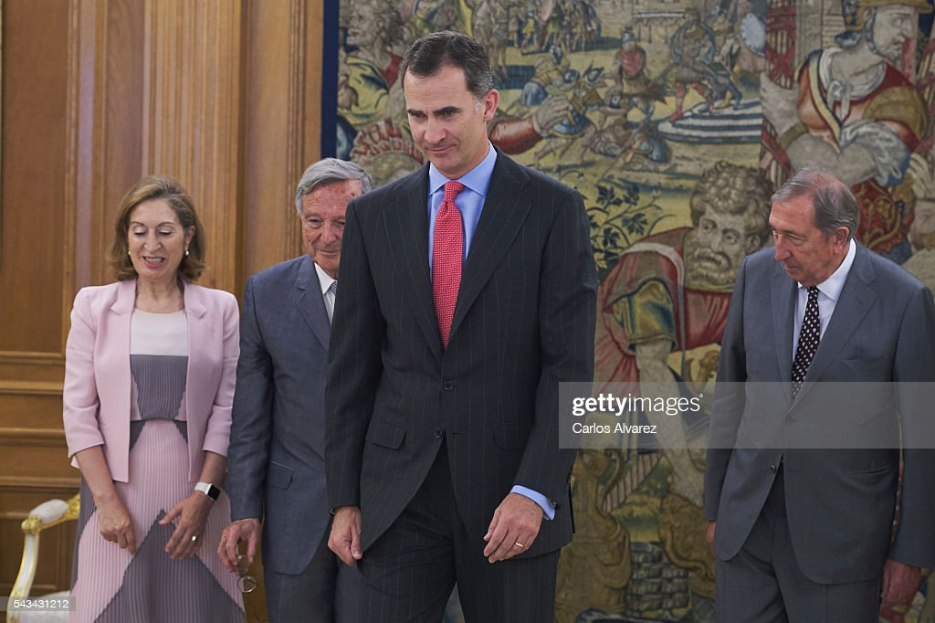 King <a gi-track='captionPersonalityLinkClicked' href=/galleries/search?phrase=Felipe+VI+of+Spain&family=editorial&specificpeople=4881076 ng-click='$event.stopPropagation()'>Felipe VI of Spain</a> (C) attends several audiences at Zarzuela Palace on June 28, 2016 in Madrid, Spain.