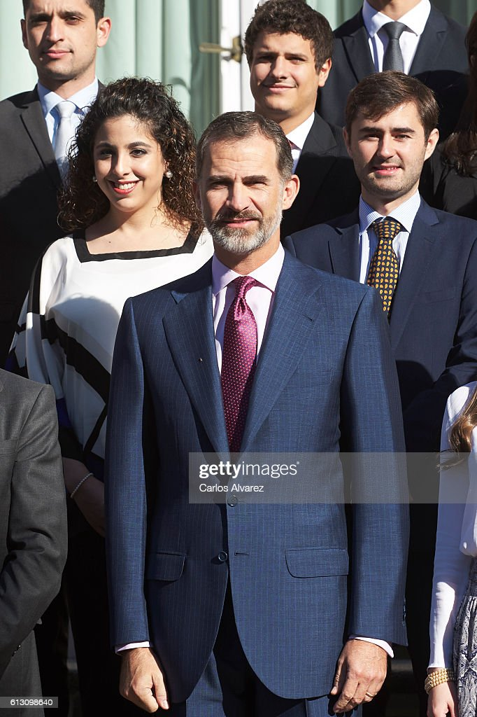 King Felipe VI of Spain (C) attends several audiences at Zarzuela Palace on October 7, 2016 in Madrid, Spain.