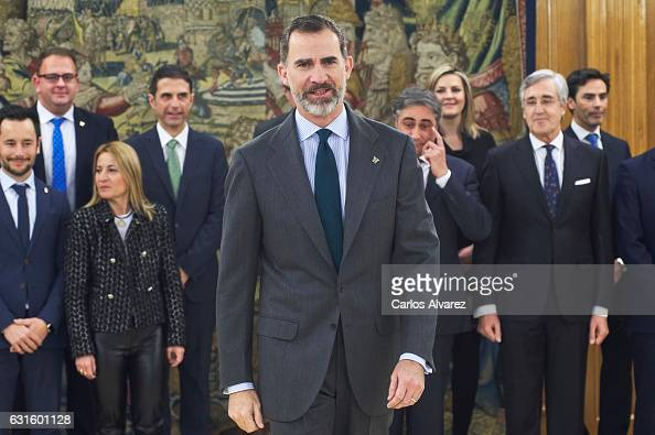 King Felipe VI of Spain attends several audiences at Zarzuela Palace on January 13 2017 in Madrid Spain