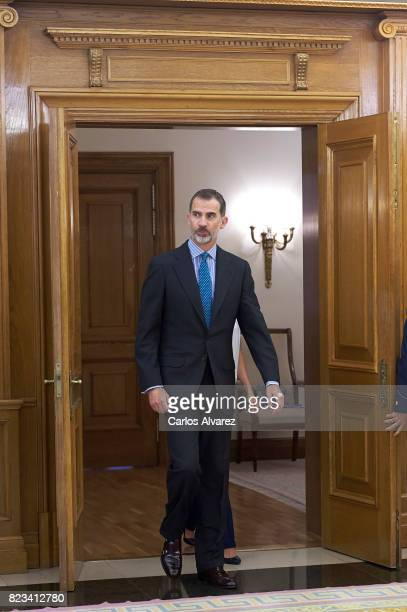 King Felipe VI of Spain attends several audiences at Zarzuela Palace on July 27 2017 in Madrid Spain