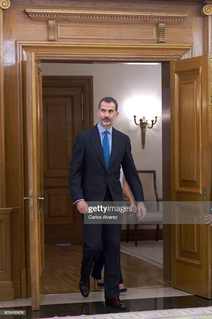 King Felipe VI of Spain attends several audiences at Zarzuela Palace on July 27, 2017 in Madrid, Spain.