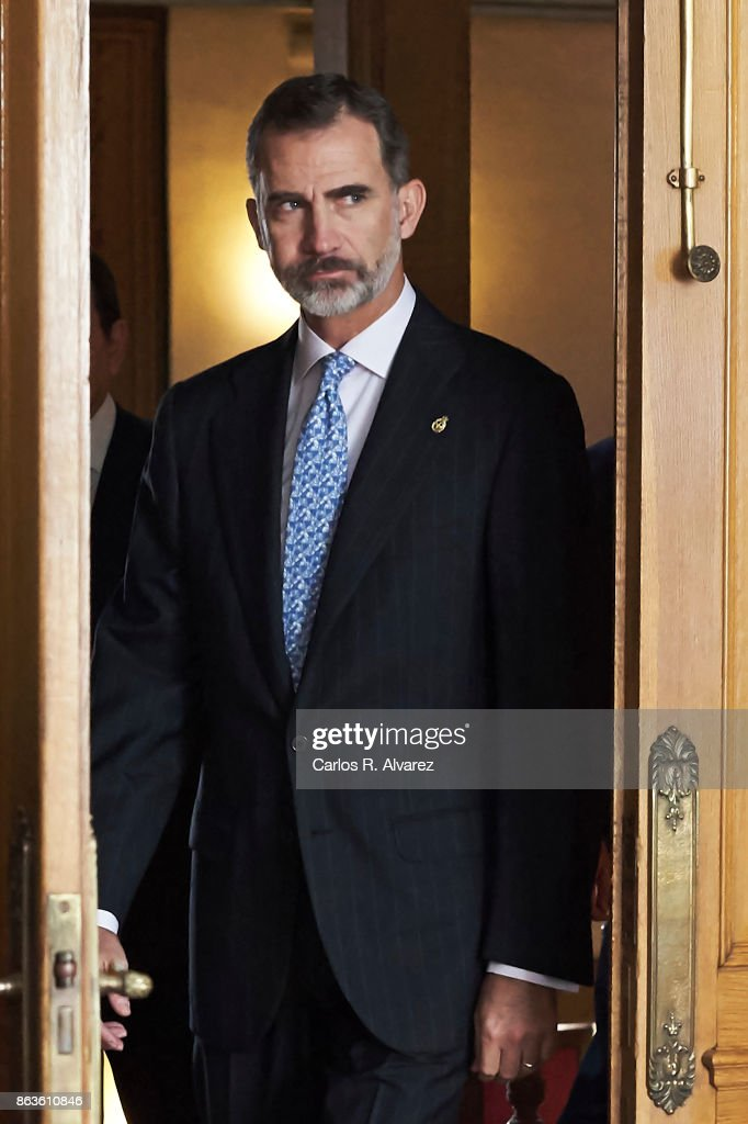 King Felipe VI of Spain attends several audiences during the Princess of Asturias Award 2017 at the Reconquista Hotel on October 20, 2017 in Oviedo, Spain.
