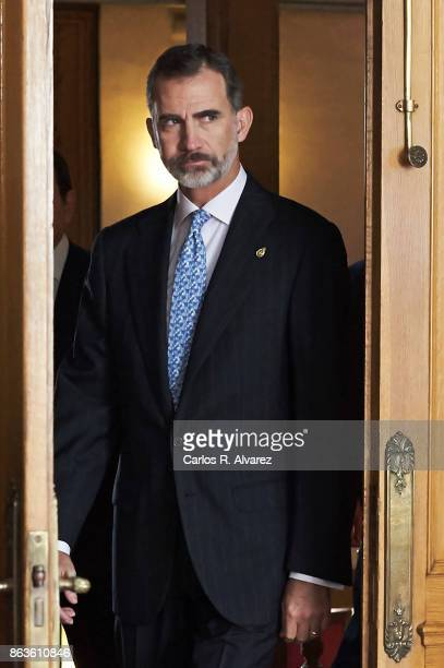 King Felipe VI of Spain attends several audiences during the Princess of Asturias Award 2017 at the Reconquista Hotel on October 20 2017 in Oviedo...
