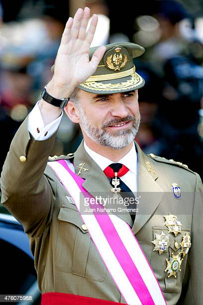 King Felipe VI of Spain attends the 2015 Armed Forces Day at Plaza de la Lealtad on June 6 2015 in Madrid Spain