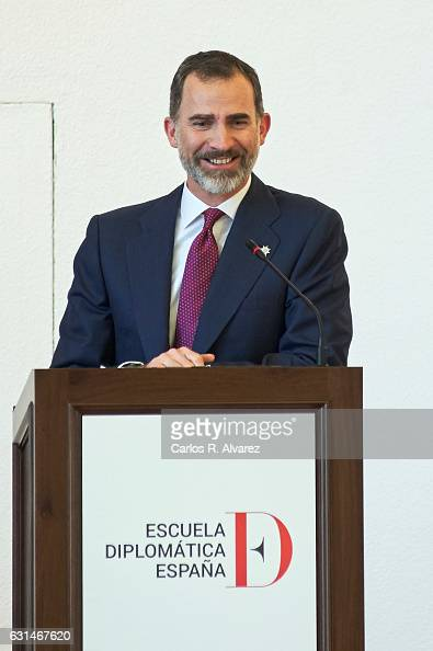 King Felipe VI of Spain attends the deliver of new positions for the assistants of Diplomats on January 11 2017 in Madrid Spain