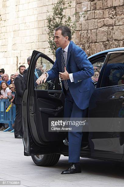 King Felipe VI of Spain attends the Easter Mass at the Cathedral of Palma de Mallorca on March 27 2016 in Palma de Mallorca Spain