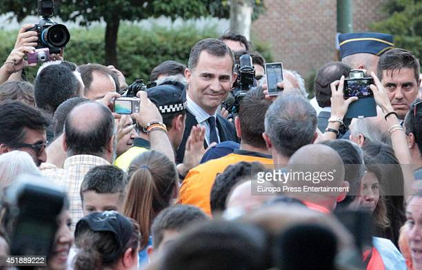 King Felipe VI of Spain attends the funeral chapel for Real Madrid legend and honorary president Alfredo Di Stefano who died at 88 years old at...