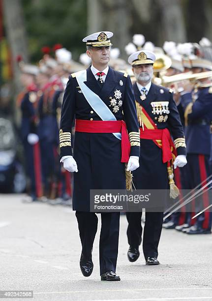 King Felipe VI of Spain attends the National Day Military Parade 2015 on October 12 2015 in Madrid Spain