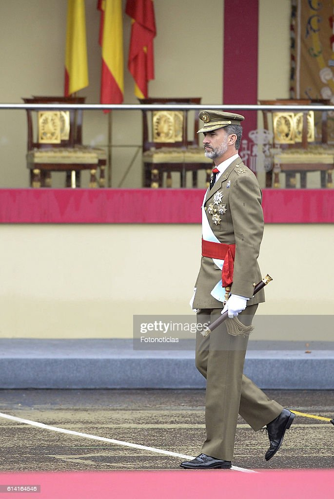 King Felipe VI of Spain attends the National Day military parade on October 12, 2016 in Madrid, Spain