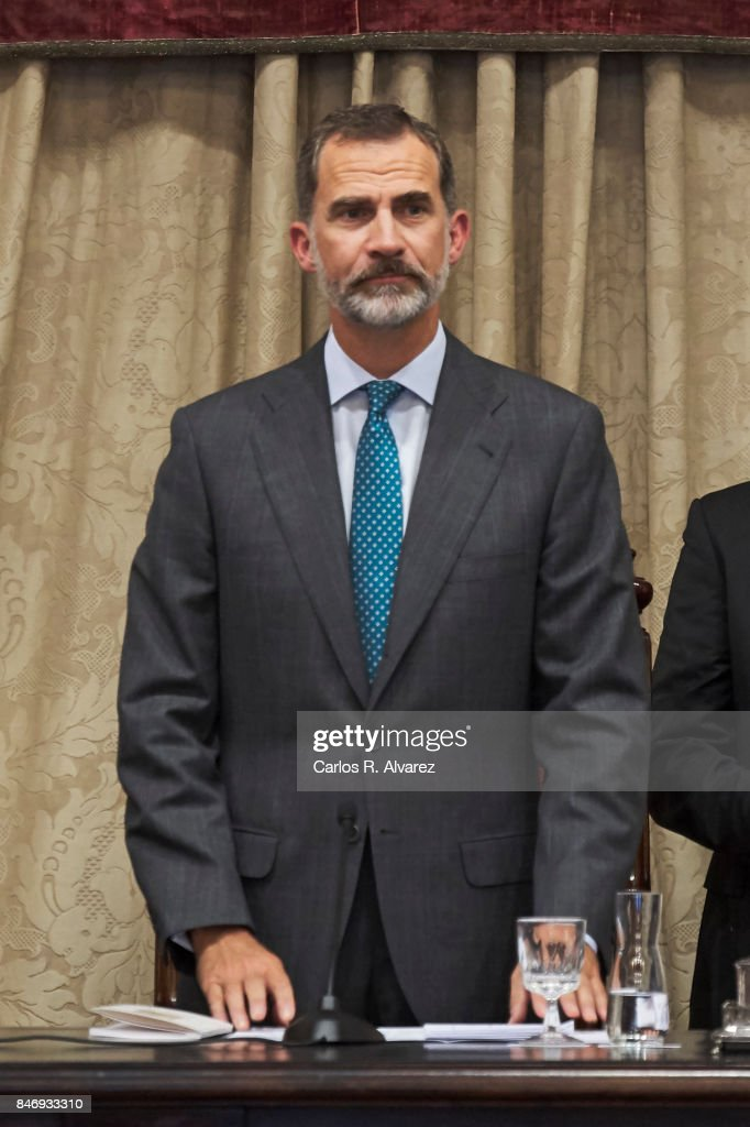 King Felipe VI of Spain attends the opening of the Scholar University College year at the Salamanca University on September 14, 2017 in Salamanca, Spain.