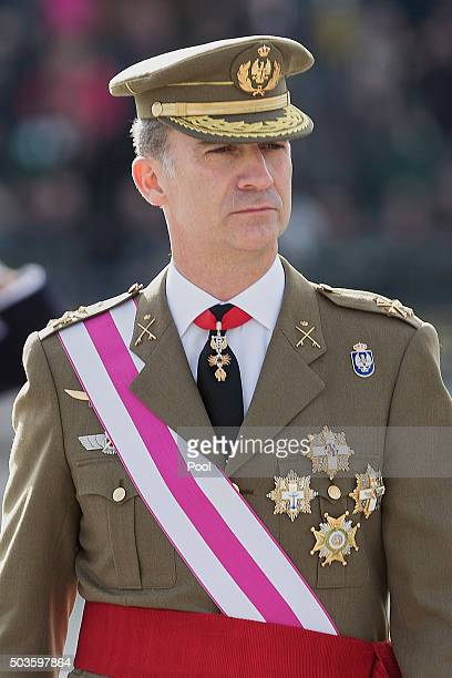King Felipe VI of Spain attends the Pascua Militar ceremony at the Royal Palace on January 6 2016 in Madrid Spain