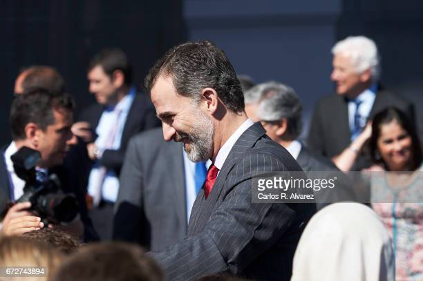 King Felipe VI of Spain attends the presentation of the 'Barrios por el Empleo' project at the Cabildo Insular on April 25 2017 in Tenerife Spain