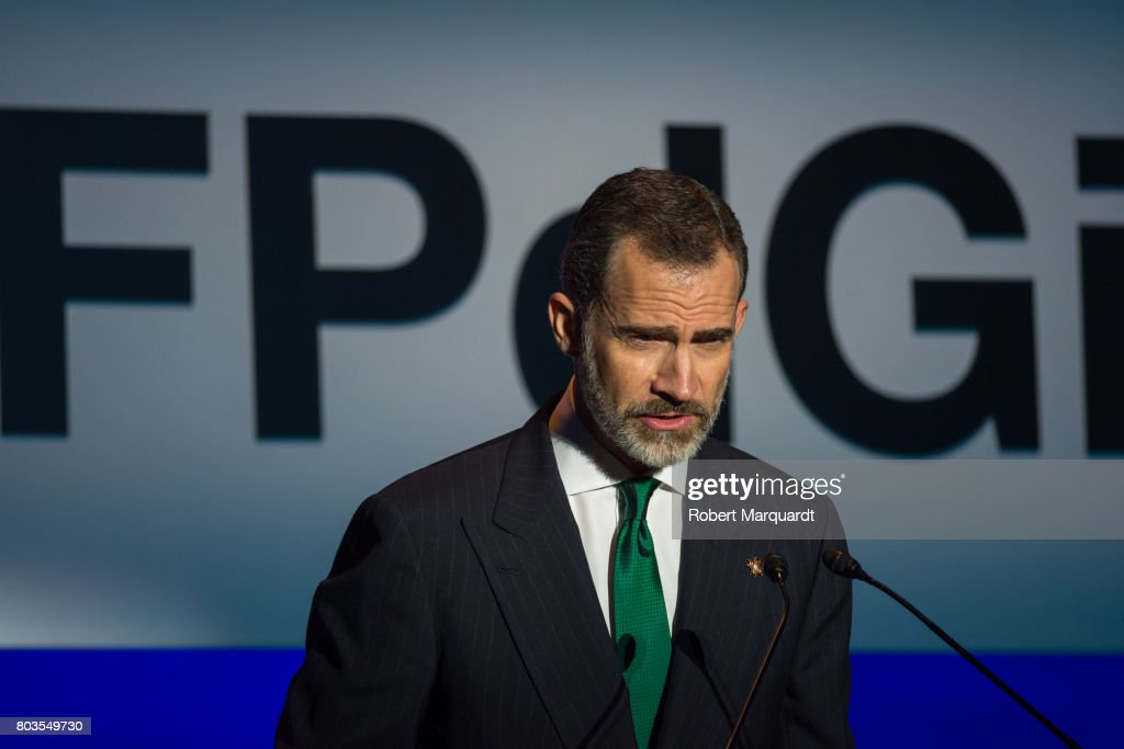 King Felipe VI of Spain attends the 'Princesa de Girona' foundation awards held at the Palacio de Congressos de Girona on June 29, 2017 in Girona, Spain.