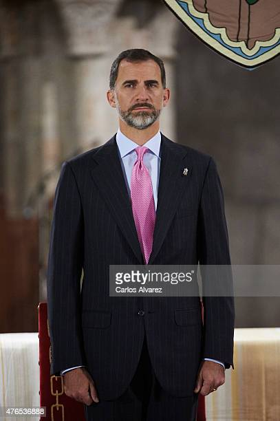 King Felipe VI of Spain attends the 'Principe de Viana 2015' award and Tribute to the Navarra Old Royals at the San Salvador de Leyre Monastery on...