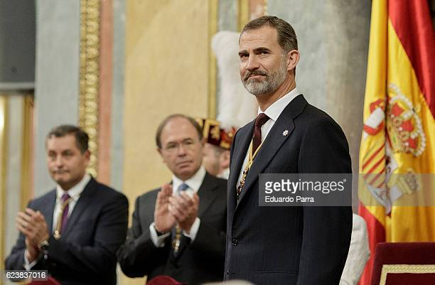 King Felipe VI of Spain attends the solemn opening of the twelfth legislature at the Spanish Parliament on November 17 2016 in Madrid Spain King...