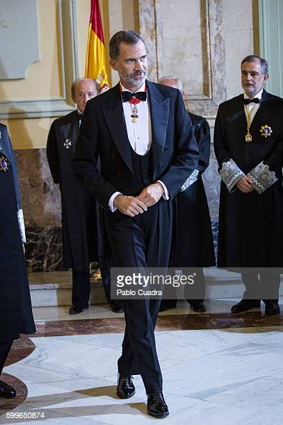 King Felipe VI of Spain attends the start of the judiciary year 2016/2017 at the Supreme Court on September 6 2016 in Madrid Spain