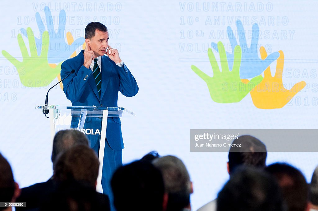 King Felipe VI of Spain attends to deliver Iberdrola Foundation Scholarships at Iberdrola building on July 5, 2016 in Madrid, Spain.