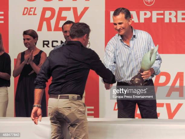 King Felipe VI of Spain attends Trophy Ceremony of 33th Copa del Rey Mapfre Sailing Cup on August 9 2014 in Palma de Mallorca Spain
