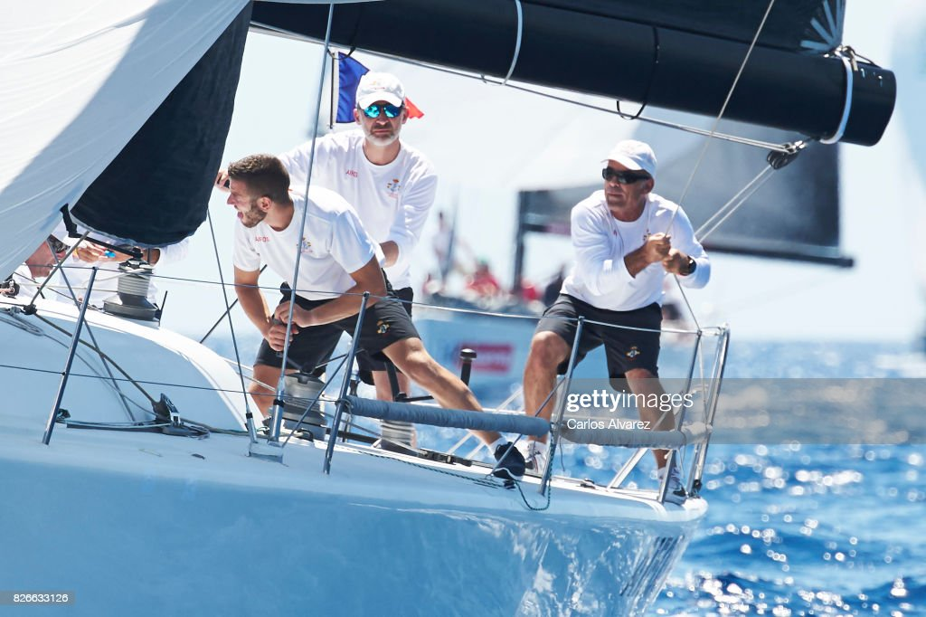 King Felipe VI of Spain (C) compites on board of Aifos during the 36th Copa Del Rey Mafre Sailing Cup on August 5, 2017 in Palma de Mallorca, Spain.
