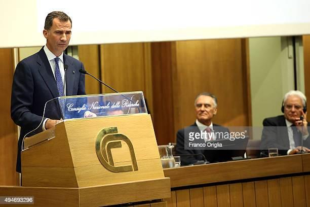 King Felipe VI of Spain delivers a speech in the presence of the Italian President Sergio Mattarella and the President of the Portuguese Republic...