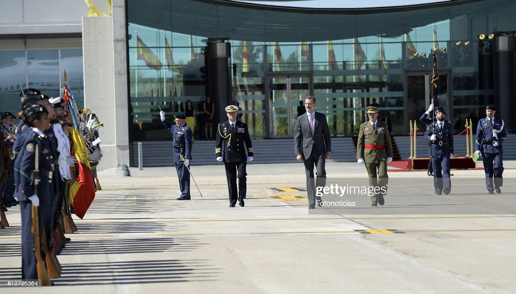 King Felipe VI of Spain (C) departs from Barajas Airport for an official visit to United Kingdom on July 11, 2017 in Madrid, Spain.