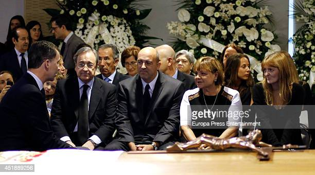 King Felipe VI of Spain Florentino Perez and relatives attend the funeral chapel for Real Madrid legend and honorary president Alfredo Di Stefano who...