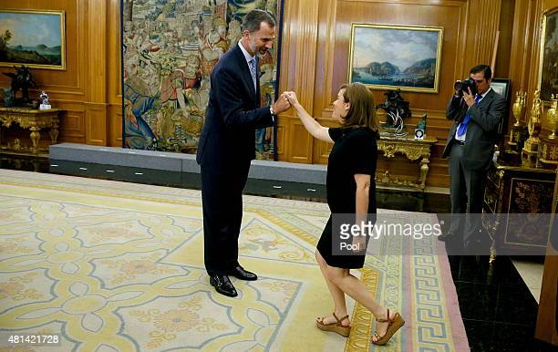 King Felipe VI of Spain greets Deputy Prime Minister of Spain Soraya Sáenz de Santamaría during a meeting of the National Security Council at the...