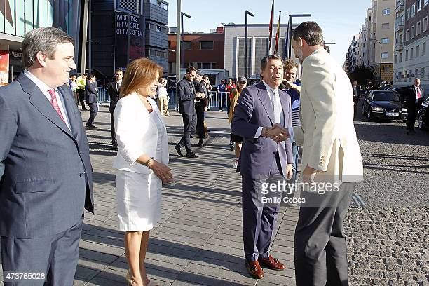 King Felipe VI of Spain greets Ignacio Gonzalez Region of Madrid President during the Turkish Airlines Euroleague Final Four Madrid 2015 Final Game...