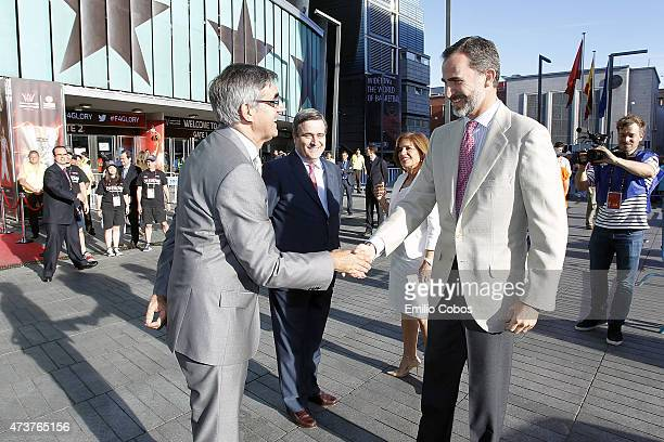 King Felipe VI of Spain greets Jordi Bertomeu Euroleague Basketball President and CEO during the Turkish Airlines Euroleague Final Four Madrid 2015...