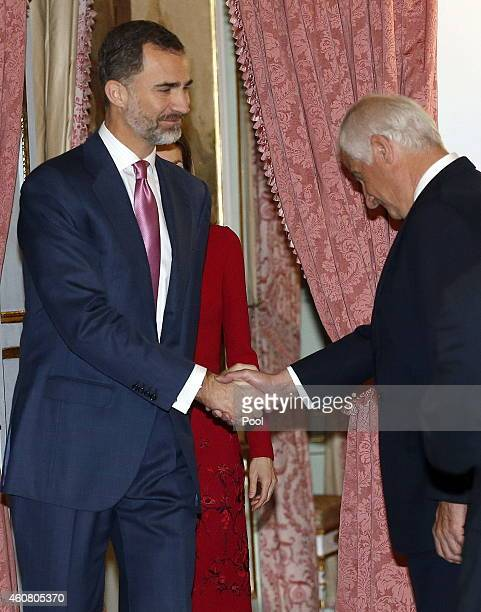 King Felipe VI of Spain greets the aristocrat Alfonso Martínez de Irujo during the hearing that took place today at the Palace of El Pardo to members...