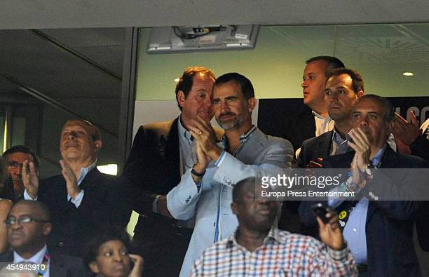 King Felipe VI of Spain is seen during during the 2014 FIBA Basketball World Cup Round of 16 match between Spain and Senegal on September 6 2014 in...