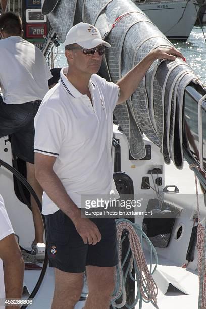 King Felipe VI of Spain is seen taking part in the 33th Copa del Rey Mapfre Sailing Cup on August 6 2014 in Palma de Mallorca Spain