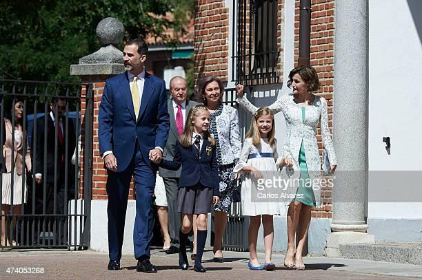 King Felipe VI of Spain King Juan Carlos Princess Leonor of Spain Queen Sofia Princess Sofia of Spain and Queen Letizia of Spain arrive at the...