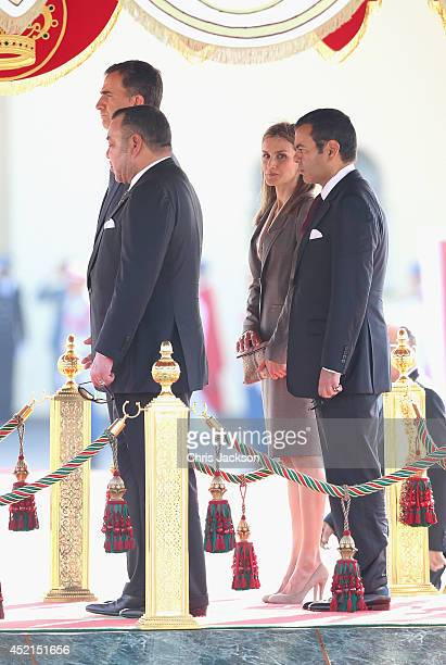 King Felipe VI of Spain King Mohammed VI of Morocco Queen Letizia of Spain and Prince Moulay Rachid El Alaoui of Morroco listen to National Anthems...
